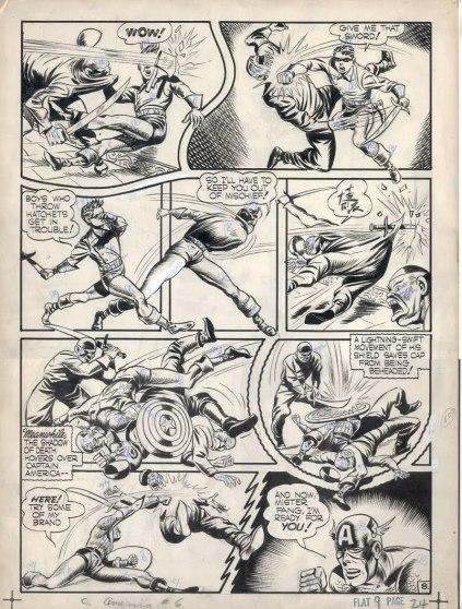 Página original à lápis de uma edição de Capitão América de 1941: a arte de Kirby repleta de movimentos, tensões e extrapolando os limites dos quadrinhos.