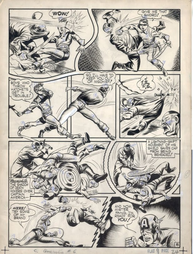 captain America by Jack Kirby 1941 original page in black and white