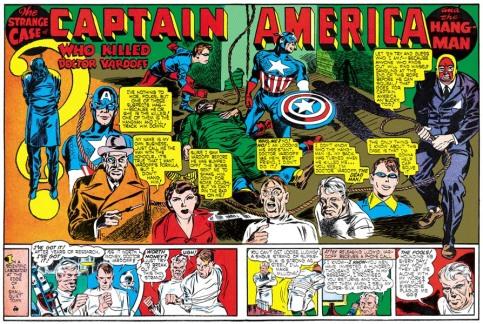 """Outra inovação: foi Kirby quem criou as """"páginas duplas"""" nos quadrinhos. Trecho de """"Captain America Comics 06"""" de 1941."""