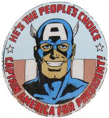Detalhe da capa de Captain America 250, de 1980: para presidente! Arte de John Byrne.