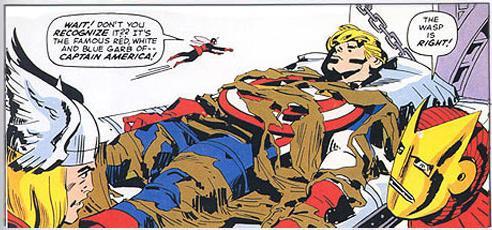 Os Vingadores encontram o Capitão América congelado por décadas. Arte de Jack Kirby.