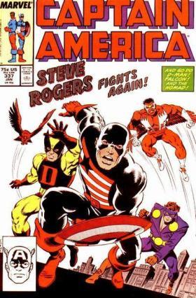 """Steve Rogers em seu uniforme negro em """"Captain America 337"""" por Tom Morgan em homenagem à """"Avengers 04""""."""