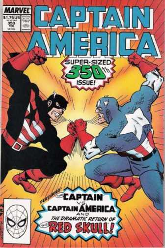 O confronto entre Rogers e Walker em Captain America 300. Arte de Kieron Dwyer.