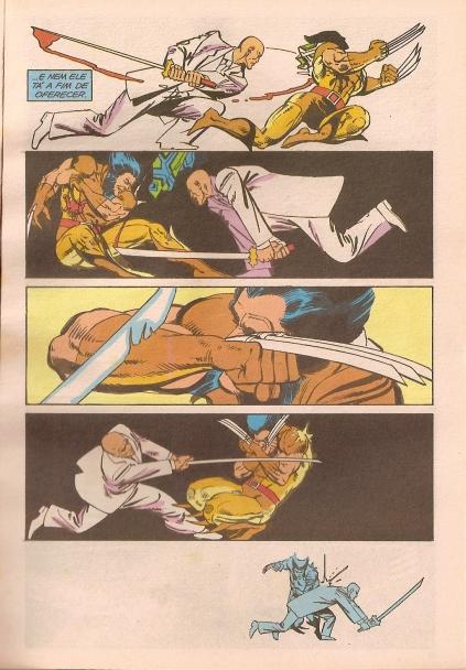 Wolverine e Shigen em confronto mortal: arte dinâmica de Frank Miller.
