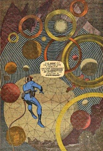 Nas histórias do Quarteto Fantástico, Kirby fez experimentações com fotografias e efeitos gráficos que combinavam o clima psicodélico dos anos 1960.