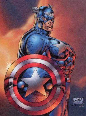Arte de Rob Liefeld para o Capitão América: terrível exemplo de Efeito Muscular.