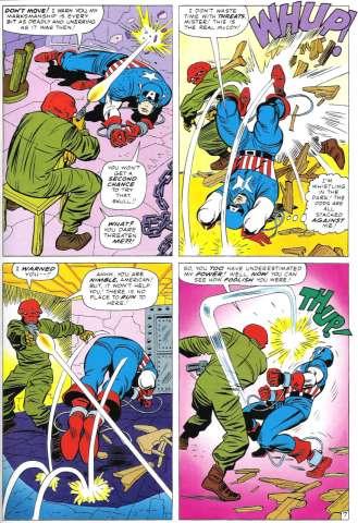 O Caveira Vermelha versus Capitão América na arte de Jack Kirby.