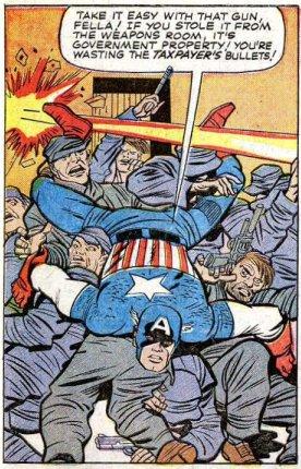 Dinâmica cena de ação por Jack Kirby.