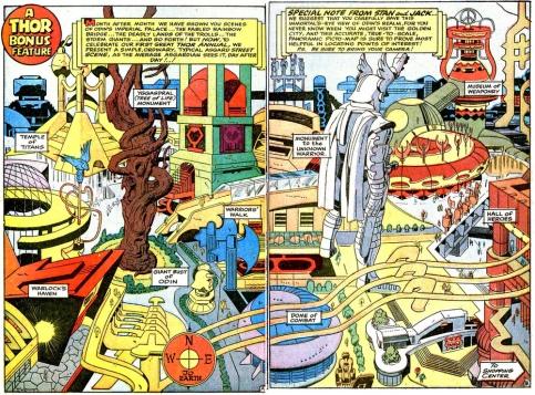 Mapa de Asgard por Jack Kirby.