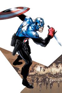 Bucky como Capitão América. Arte por Phil Jimenez.