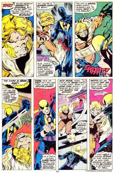 Punho de Ferro versus Dentes de Sabre: arte de John Byrne e texto de Chris Claremont.