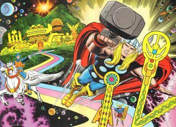 Thor, Asgard e a Bifrost por Jack Kirby.