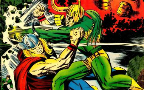 Thor versus Loki, na arte de Jack Kirby.