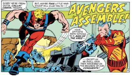 O Golias (Clint Barton) ataca na arte de Neal Adams.