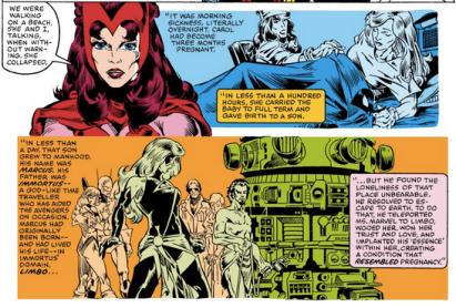Miss Marvel e Feiticeira Escarlate discutem os feitos polêmicos de Marcus.