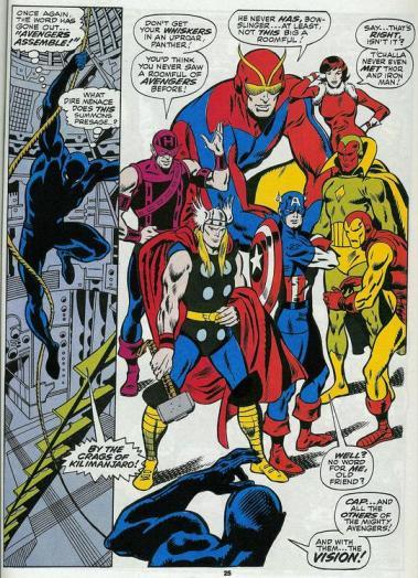 O Pantera Negra e os Vingadores na belíssima arte de John Buscema.