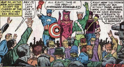 Os novos Vingadores são apresentados: Capitão América, Feiticeira Escarlate, Mercúrio e Gavião Arqueiro.