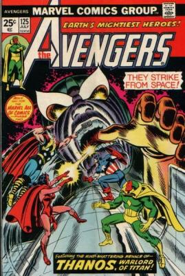 Os Vingadores combatem Thanos durante a temporada de Steve Englehart no título.