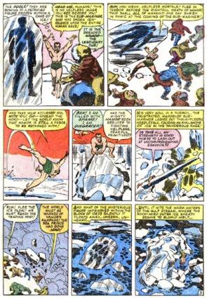 Namor liberta (sem  saber) o Capitão América do congelamento em um bloco de gelo.