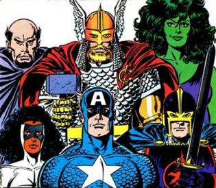 A equipe da fase final de Stern: Dr. Druída, Thor, Mulher-Hulk, Capitã Marvel, Capitão América e Cavaleiro Negro.