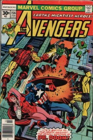 Bela capa de Jack Kirby para Avengers 156, escrita por Conway.