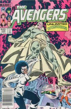 O Visão e a Capitã Marvel na arte de Al Migron.