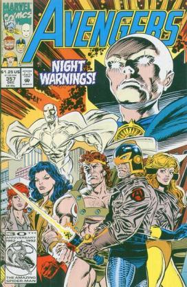 Os Vingadores de Harras e Epting: Viúva Negra, Sersi, Visão (acima), Hércules, Cavaleiro Negro, Crystalis e as jaquetas, observados pela entidade chamada Vigia.