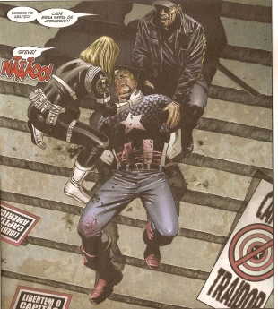 Capitão América é assassinado no fim de Guerra Civil.