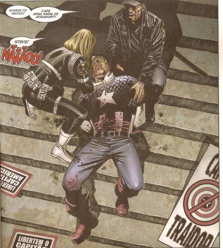 Capitão América é assassinado no fim de Guerra Civil. Arte de Steve Epting.