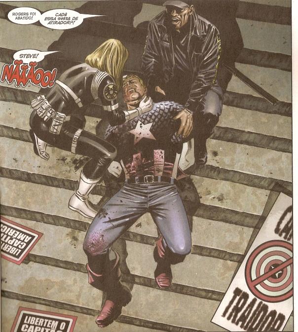 """Capitão América é assassinado em """"Captain America 25"""", de 2007."""