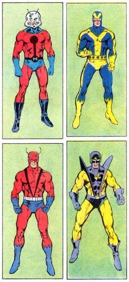 Hank Pym e suas identidades: (sentido horário) Homem-Formiga, Gigante (2), Jaqueta Amarela e Gigante (1).