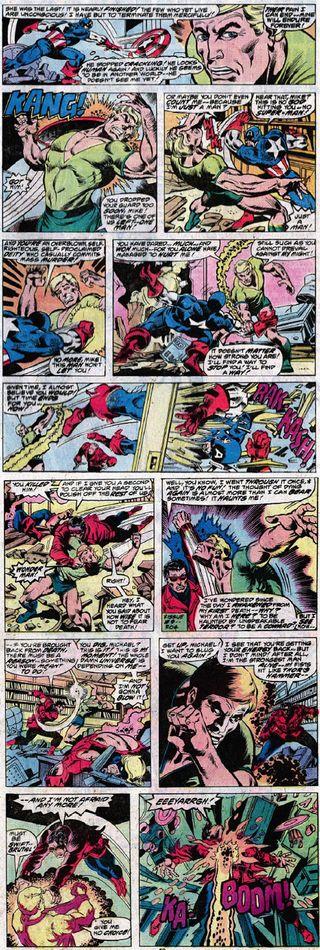 Korvac elimina os Vingadores um a um numa das maiores batalhas da equipe. Arte de David Wenzel.