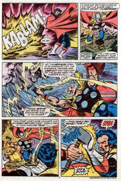 Thor versus Nefaria na bela arte de John Byrne.