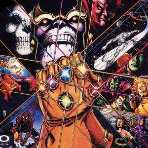 Thanos e a Manopla do Infinito nos quadrinhos, por Starlin e Perez.