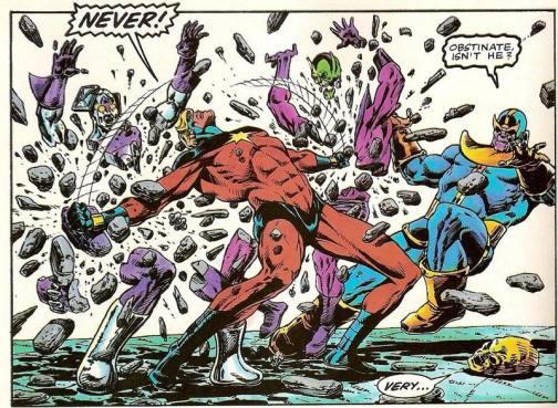 O Capitão Marvel versus Thanos por Jim Starlin.