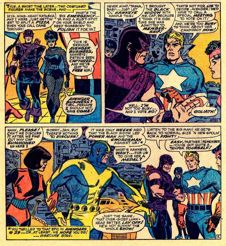 The Avengers 36 p-9 hwakeye and black widow