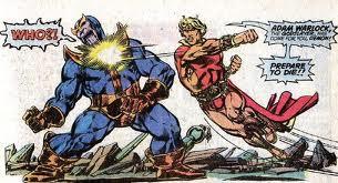 Adam Warlock versus o vilão Thanos, por Jim Starlin.