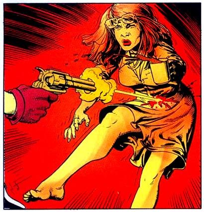 Barbara Gordon é baleada pelo Coringa. Arte de Brian Bolland.