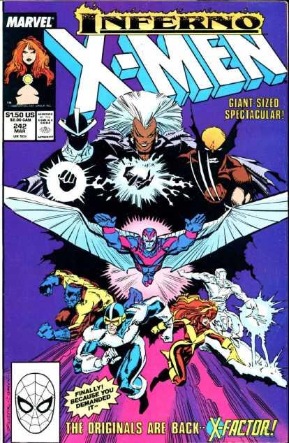 """Capa de """"Uncanny X-Men 242"""" com o primeiro encontro entre os X-Men e o X-Factor, na arte sombria de Marc Silvestri."""