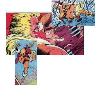 Recortes do segundo round de Wolverine contra Dentes de Sabre, agora com arte de Alan Davis.