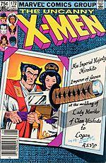 """O espirituoso convite de casamento de Logan e Mariko, na capa de """"Uncanny X-Men 172""""."""