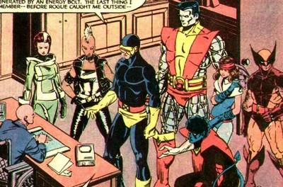 Os X-Men na fase de Claremont e Smith: Vampira, Tempestade, Ciclope, Colossus, Noturno, Ninfa (Kitty Pryde) e Wolverine.