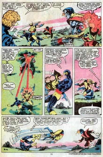 Ciclope e Wolverine trocam sopapos por Chris Claremont e John Byrne.