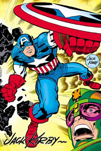 Captain America in action by Jack Kirby