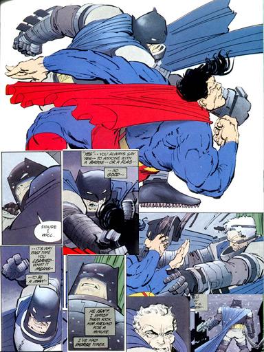 Batman desce o braço no Superman: visões opostas.
