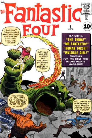 "A capa de ""Fantastic Four 01"", de 1961, por Lee e Kirby: marco zero do Universo Marvel."