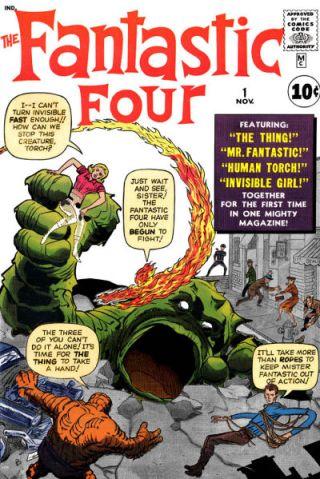 """A capa de """"Fantastic Four 01"""", de 1961, por Lee e Kirby: marco zero do Universo Marvel."""