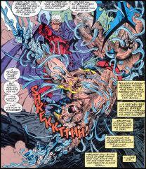 Magneto arranca o adamantium de Wolverine na saga Atrações Fatais.