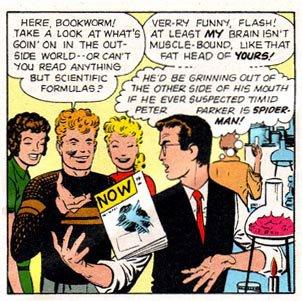 Peter Parker na escola por Lee e Ditko: foco dos filmes.