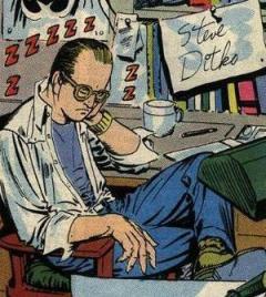 Autoretrato de Steve Ditko nos anos 1960: briga com Stan Lee.